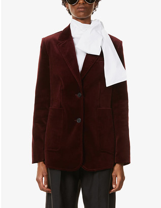 Claudie Pierlot Vernis single-breasted stretch cotton-velvet blazer