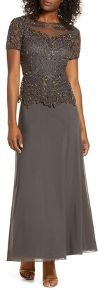 Pisarro Nights Embellished Mesh Bodice Evening Gown