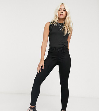 Noisy May Petite high waisted body shaping jean in black