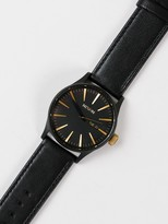 Nixon Sentry Leather 42mm Analogue Watch in Matte Black & Gold