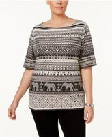 Karen Scott Plus Size Printed Boat-Neck Top, Only at Macy's