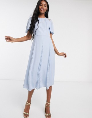 ASOS DESIGN midi dress with lace panels and blouson bodice in sky blue