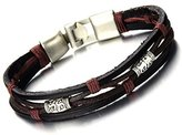 COOLSTEELANDBEYOND Retro Style Mens Ladies Multi-strand Color Tribal Leather Bracelet Wristband Black Color