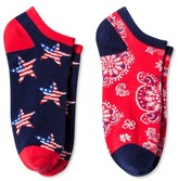 Bioworld Women's 2-Pair pk Ankle Socks - Bandana & Stars One Size