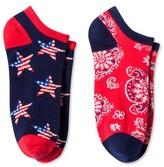Women's 2-Pair pk Ankle Socks - Bandana & Stars One Size
