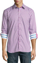 Robert Graham Craft Gingham Long-Sleeve Shirt, Raspberry