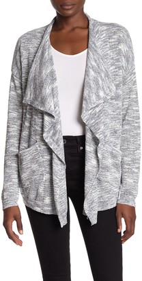 Ady P Space Dye Draped Open Front Cardigan