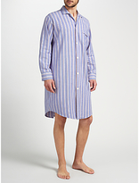 Derek Rose Brushed Cotton Stripe Nightshirt, Purple/blue/red
