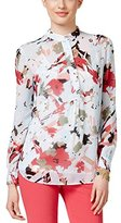 Anne Klein Women's Seagate Floral Long-Sleeve Blouse