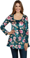 24/7 Comfort Apparel Ginger Blossom Velvet Tunic Top