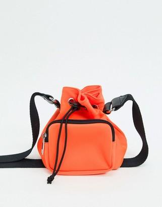 Asos DESIGN scuba bucket bag with webbed strap