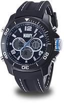 U.S. Navy Men's Analog-Digital Chronograph Black Silicone Strap Watch by Wrist Armor