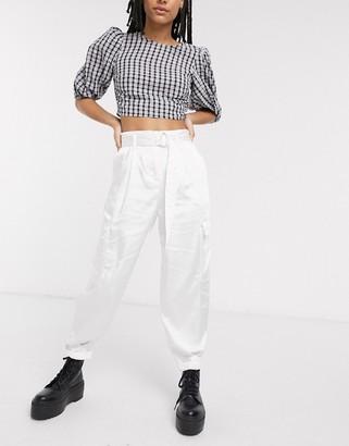 Bershka satin utility pants with belt in white