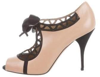 Valentino Peep-Toe Leather Booties