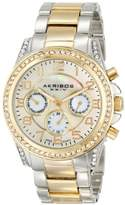 Akribos XXIV Women's Ultimate Elegance Multifunction Watch with Two-Tone Bracelet and Crystal-Accented Bezel AK683TTG