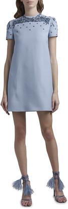Valentino Embroidered Neck Shift Dress