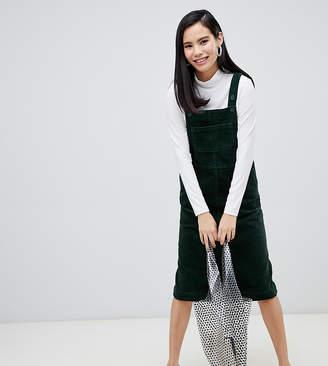 Monki cord dungaree dress in dark green