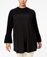 Style&Co. Style & Co. Plus Size Velvet-Inset Top, Only at Macy's