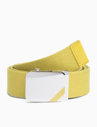 Calvin Klein Enamel Logo Canvas Plaque Belt