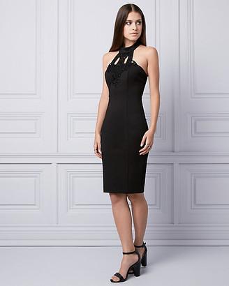 Le Château Lace & Ponte Halter Dress