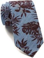 Ben Sherman Floral Print Chambray Tie