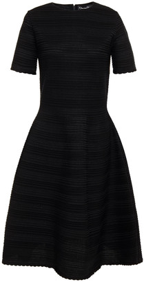 Oscar de la Renta Flared Textured Silk-blend Dress