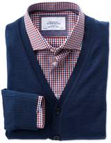 Charles Tyrwhitt Mid Blue Merino Wool Cardigan Size Small