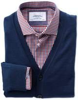 Charles Tyrwhitt Mid Blue Merino Wool Cardigan Size XXXL