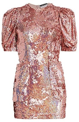Rotate by Birger Christensen Katie Puff Sleeve Sequin Mini Dress