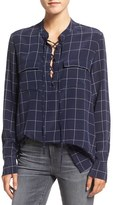 Madewell 'Monroe' Plaid Lace-Up Silk Blouse