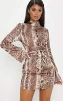 PrettyLittleThing Tan Snake Print Satin High Neck Shift Dress