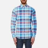 Gant Men's Big Plaid Comfort Oxford Long Sleeve Shirt Nautical Blue