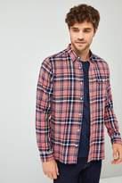 Mens Next Pink/Indigo Long Sleeve Check Shirt
