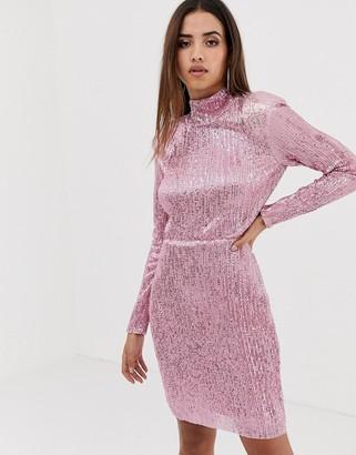 Club L high neck open back sequin maxi dress