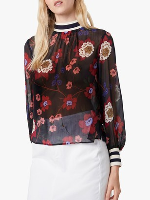 French Connection Eloise Sheer Crinkle Floral Top, Utility Blue/Multi
