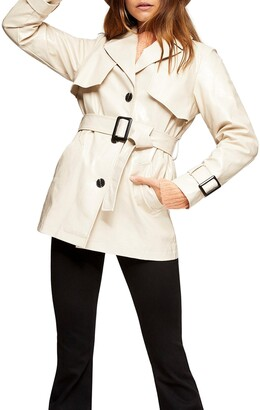 Topshop Dolly Faux Leather Belted Jacket