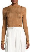 DKNY Sheer Stripe Jersey Pullover Sweater, Copper