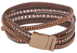 lonna & lilly Gold-Tone Crystal Leather Wrap Bracelet