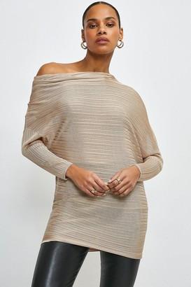 Karen Millen Knitted Rib Drape Shoulder Top