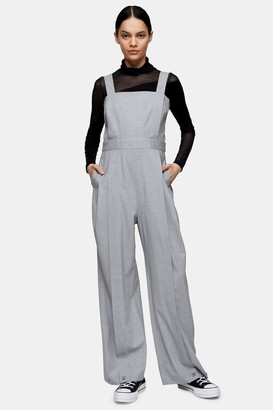 Topshop Womens **Grey Pleated Hem Jumpsuit With Wool By Light Grey
