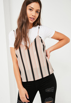 Missguided Stripe Cami Top Overlay Pink