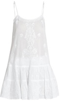 Juliet Dunn Embroidered ruffled-hem cotton-voile kaftan