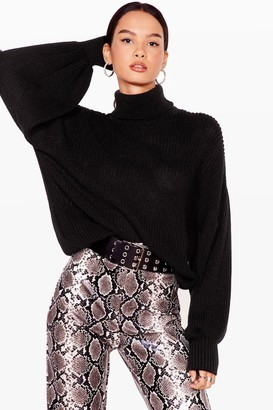 Nasty Gal Womens Let's Roll Knitted Balloon Sleeve jumper - Black - S