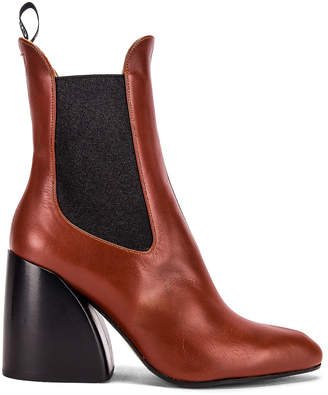 Chloé Leather Ankle Booties in Brown | FWRD