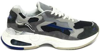 Premiata Grey Calf Leather And Suede Sharky Sneakers