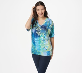 Belle By Kim Gravel V-Neck Print Top with Sleeve Tab