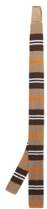Burberry Striped Knitted-silk Tie - Mens - Multi
