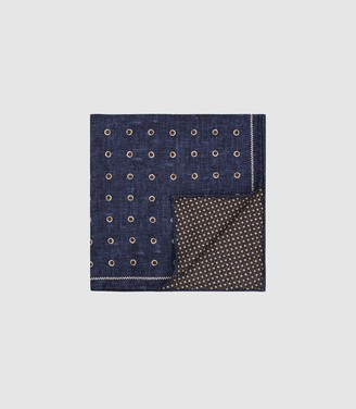 Reiss LIMA SILK DOUBLE SIDED POCKET SQUARE Navy