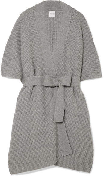Madeleine Thompson Duck Wool And Cashmere-blend Waffle-knit Cardigan - Gray