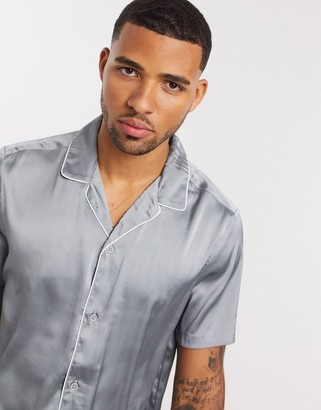 ASOS DESIGN regular fit satin shirt with deep revere and piping in silver